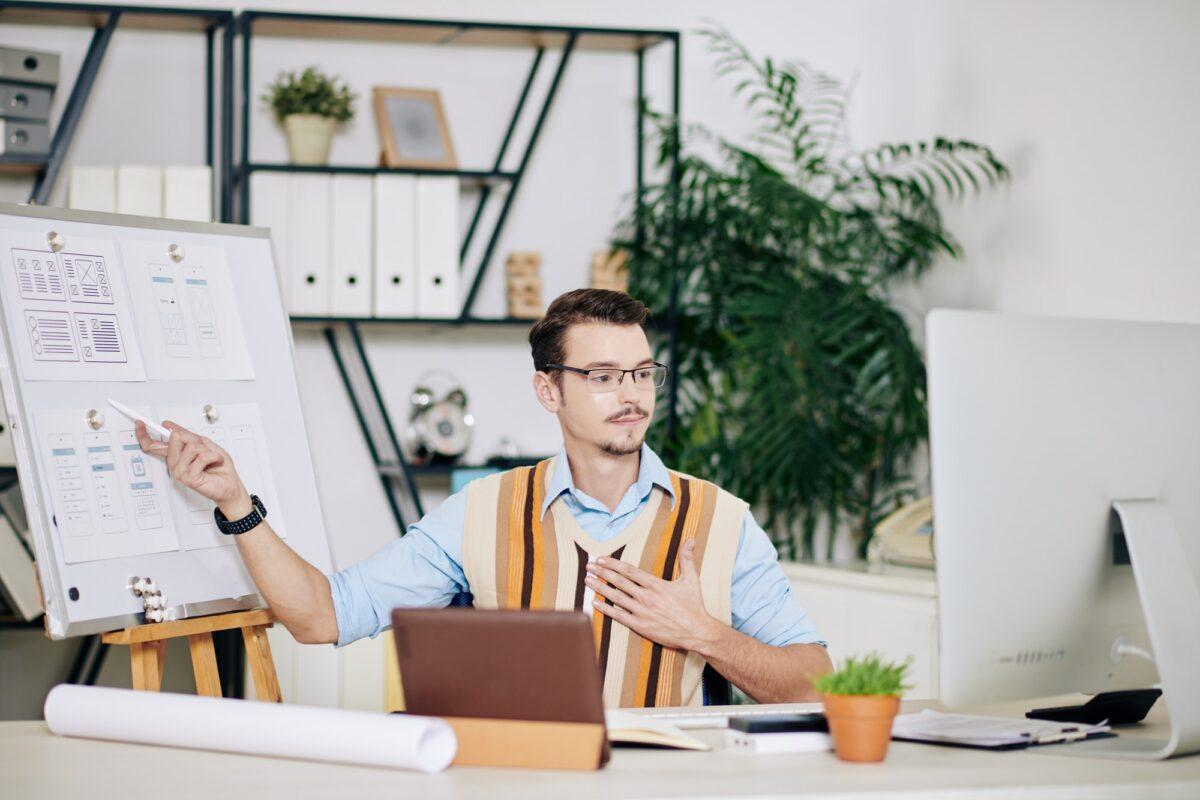 UI designer having online meeting